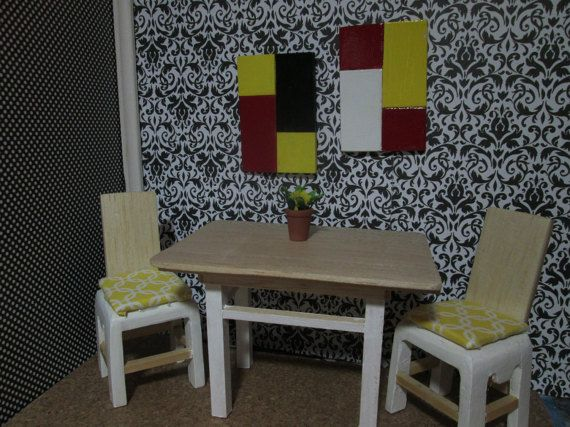 Dollhouse dinning room table with two chairs, wood dinning room set, miniature dinning room set