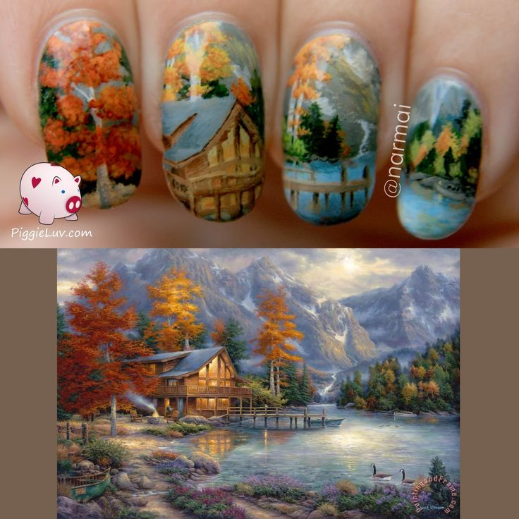 I painted another fine art painting onto my nails, I like to do this kind of really detailed nail art. This time it's this amazing piece by Chuck Pinson, called 'Space For Reflection'.