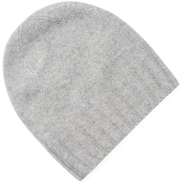 White + Warren Women's Jersey Cashmere Beanie - Light/Pastel Grey (£39) ❤ liked on Polyvore featuring accessories, hats, beanie cap hat, beanie hat, grey hat, grey beanie hat and grey cashmere hat