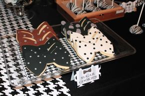 Bowtie cookies at a little gentleman baby shower party! See more party planning ideas at CatchMyParty.com!