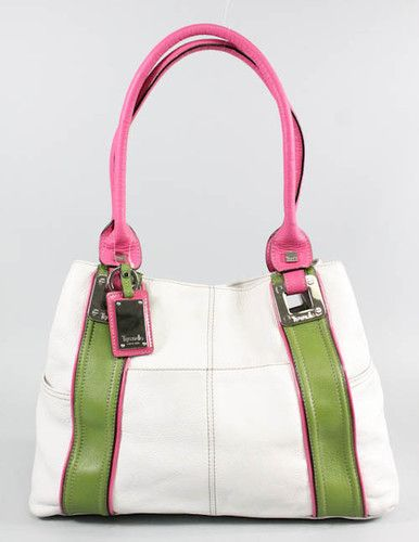 Tignanello pink, green, and white leather handbag