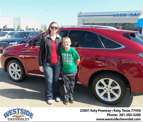 Westside Chevrolet would like to say Congratulations to Ruth Stanley on the 2010 Lexus RX 350
