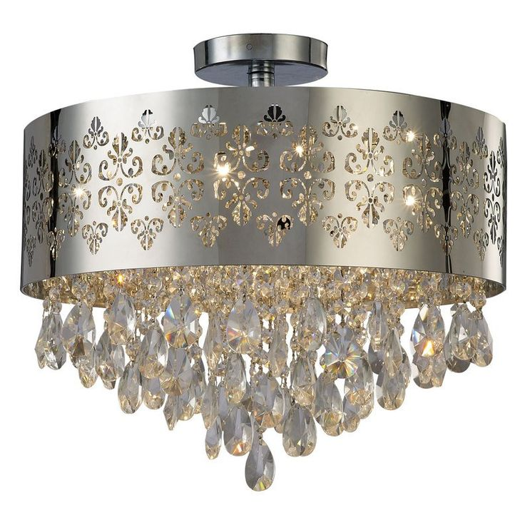 169 best images about lighting on pinterest chrome for Flush mount chandelier home depot