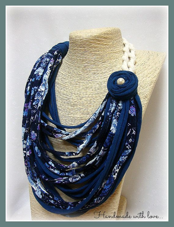 This feminine & easy to wear necklace, is made with floral blue T-shirt yarn, white cotton cord and a cotton decorative flower.   It is lightweight and soft, so very comfortable and easy to wear & best solution for women with metal allergy.  It is perfect as a present and comes