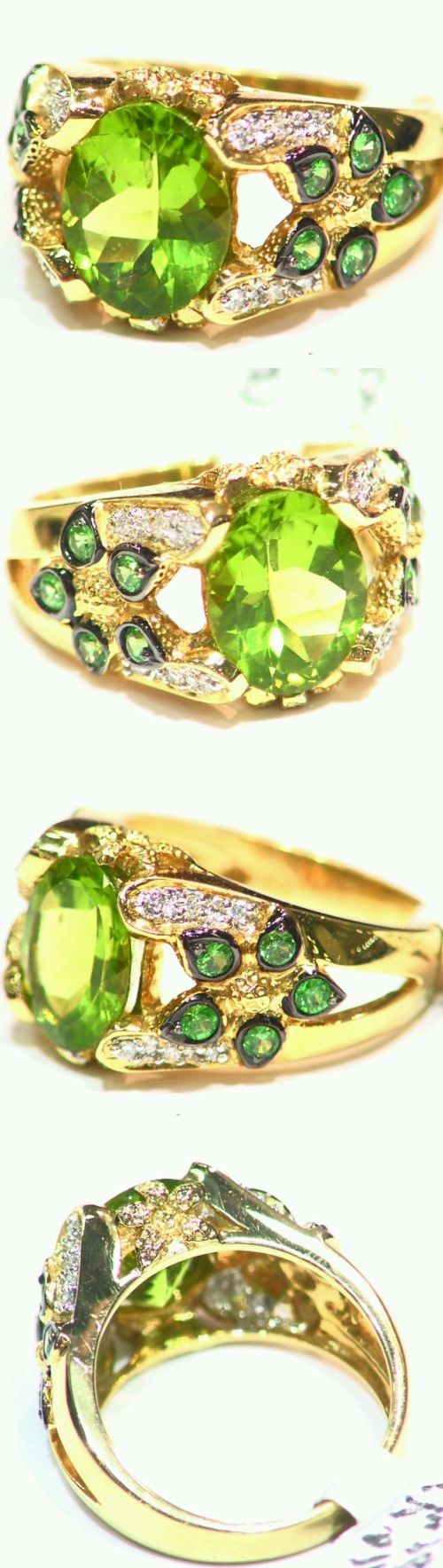 Rings 165014: 3.77Ct 18K Gold Natural Peridot Round Cut White Diamond Vintage Engagement Ring BUY IT NOW ONLY: $731.0
