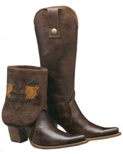 Women's Chocolate / Musgo Wing Cross Convertible Boot - C2214  Country Outfitter