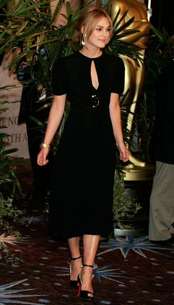 Keira Knightley Day Dress - Keira Knightly was all class at the Academy Award Nominee Luncheon in a demure dress that featured a cut-out at the bodice.