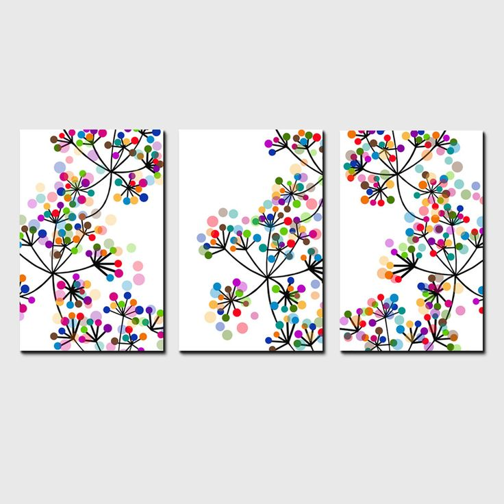 Modern Decor Black and White Colorful Dots Botanical Trio – Set of Three Coordinating Floral Prints – Modern Floral Art