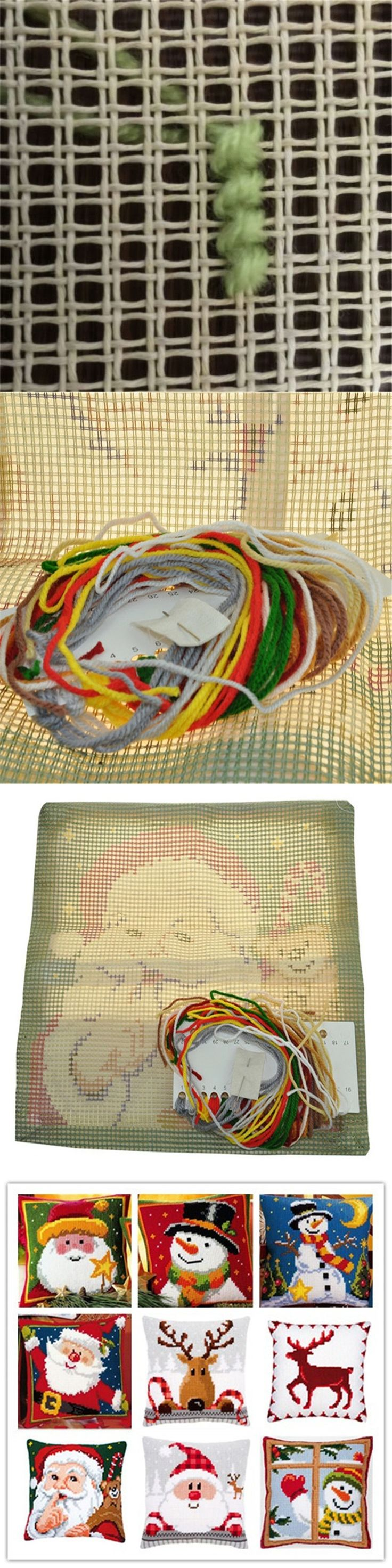 Cross Stitch Pillow Mat DIY Craft Christmas 42CM by 42CM Latch Hook Kit  Needlework Crocheting Cushion Embroidery