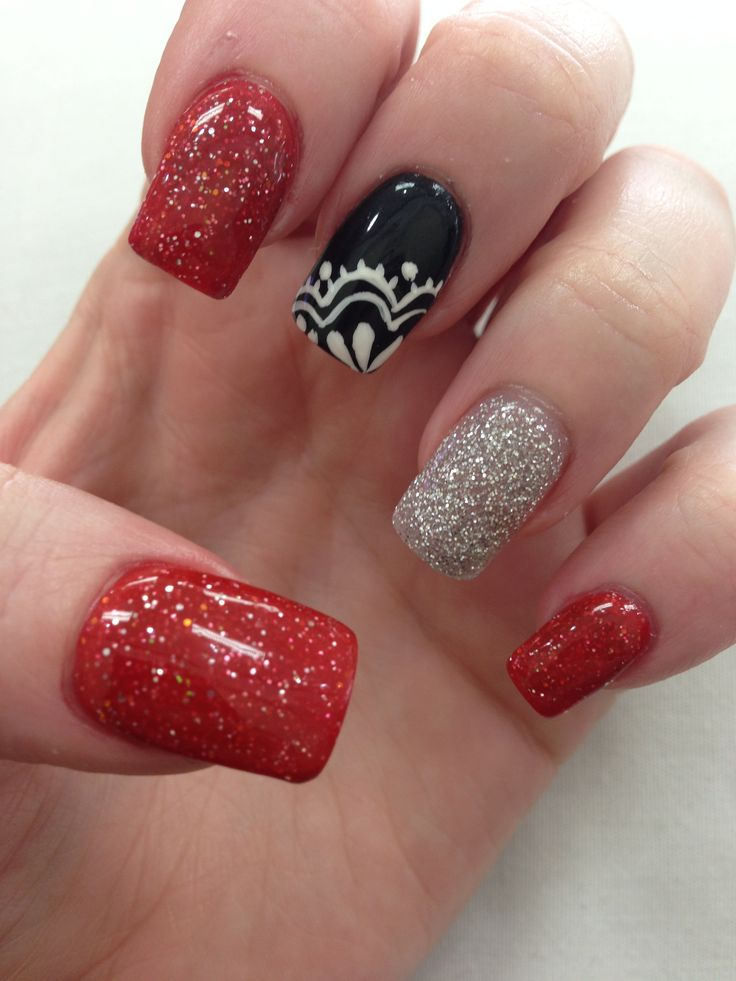 black red silver with lace nail design nails