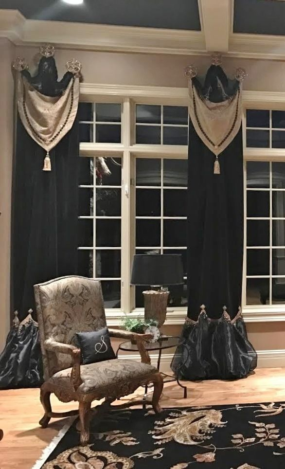 Beautiful Luxury Black Velvet and organza Drapery Panels Window Treatments by Reilly-Chance Collection