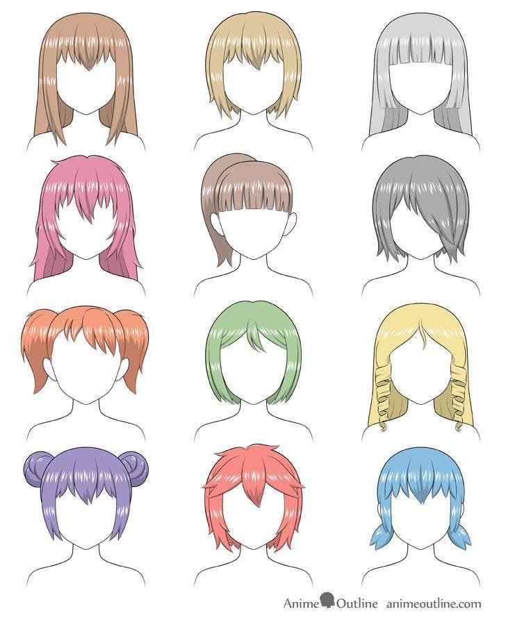 Bunhairstylessketch In 2020 Anime Hair Manga Hair Girl Hair Drawing