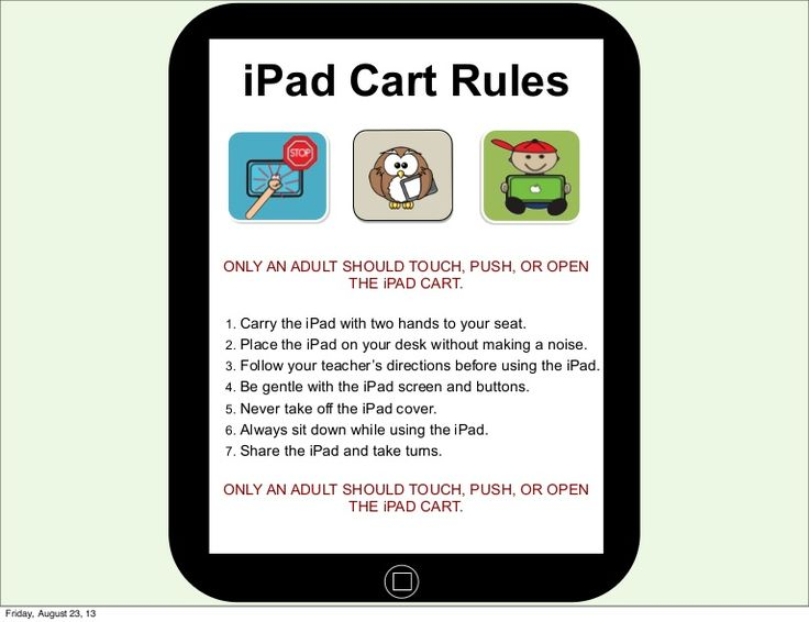 i-pad-procedures-short by Dan Gibson via Slideshare (great for elementary classrooms)