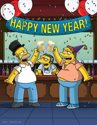 Happy New Year! Yours truly, Homer Simpson, Barney and Moe