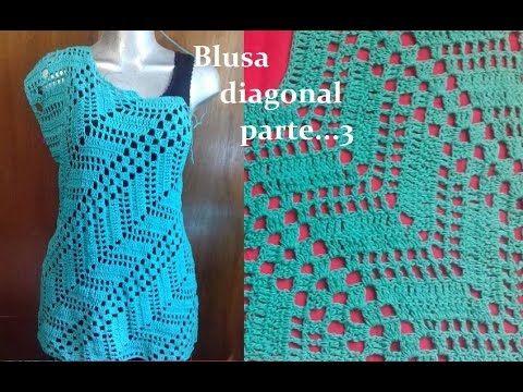 Blusa diagonal a crochet (parte 3) - YouTube