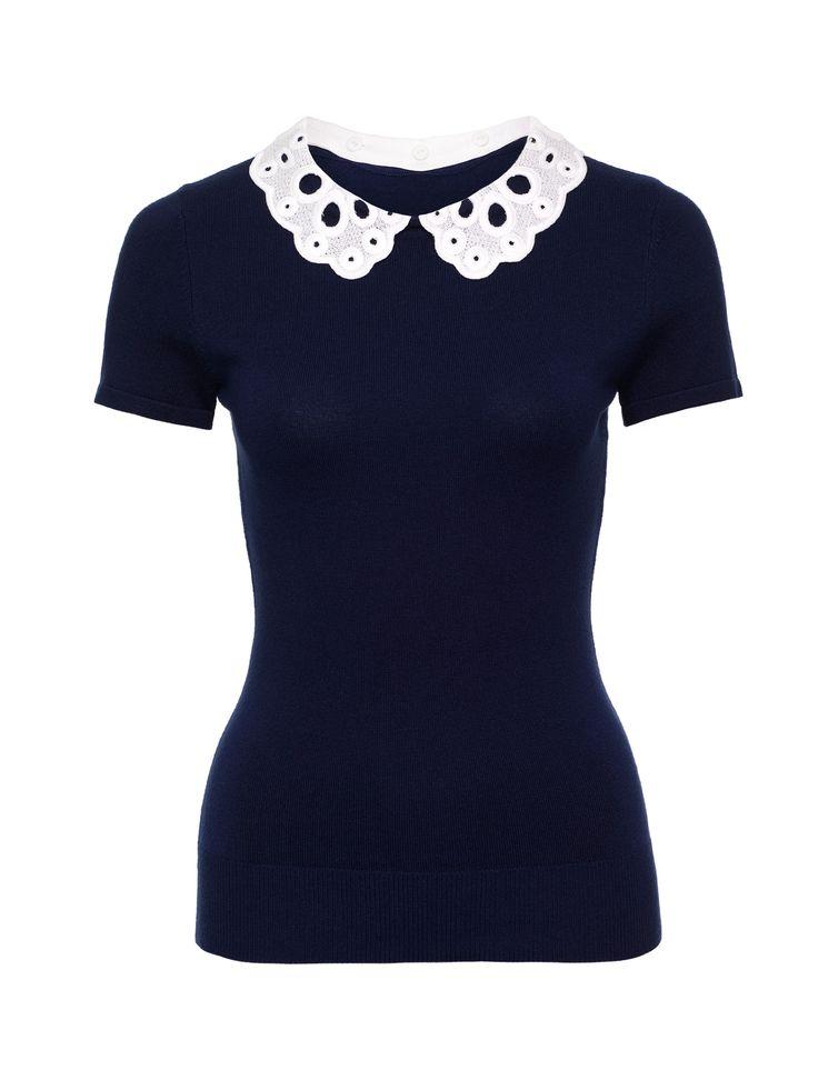 Skye Top   Navy & Cream   Knitwear Tops