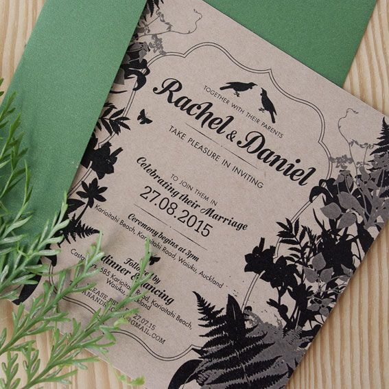 Fern © Paper Wedding 2015  Printed on Kraft paper stock with metallic green envelope. Available from the Off-the-Rack collection: http://www.paperwedding.co.nz/#!off-the-rack-designs/c1dlq