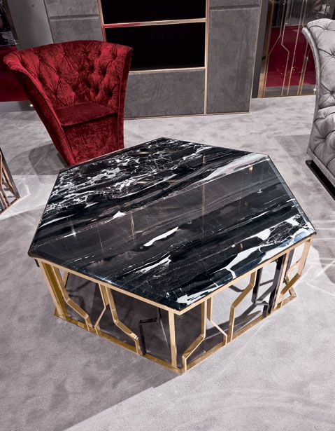 Elegant gold coffee table with a marble top #coffeetable #moderndesign#livingroom the living room, modern living room, contemporary design. Visit our blog www.coffeeandsidetables.com