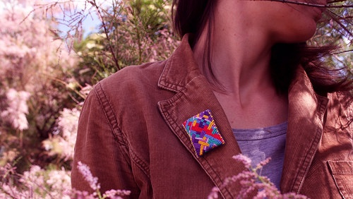 Brooch Inga IV by Zauzleno, textile jewelry