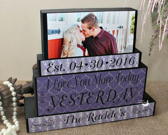 """A beautifully hand crafted """"I love you more today than yesterday"""" wood blocks sign makes a"""
