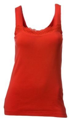 Natural Reflections Eyelet Trim Tank Top for Ladies - Aurora Red - XXL