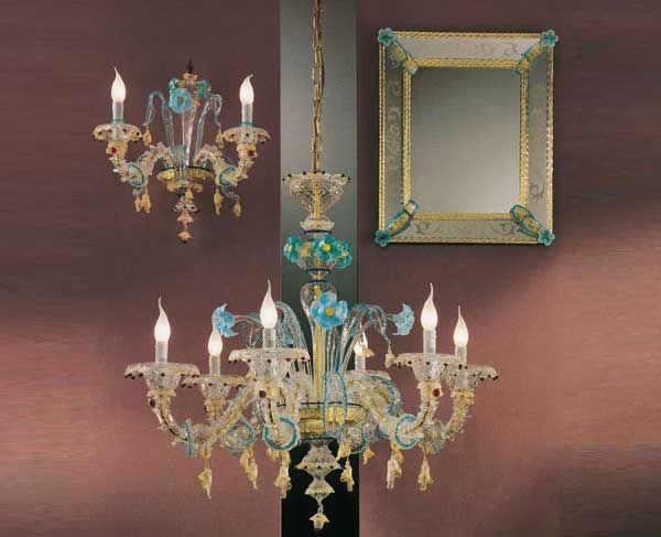 #Lampadario #rezzonico #vetro Lampadario rezzonico in vetro oro e azzurro H. 92 – ø. 95 cm Dimensioni e colori disponibili su richiesta