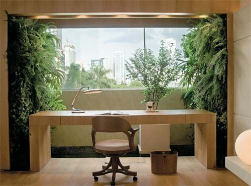 Home Office + Vertical Garden - Every business should have spaces like this.