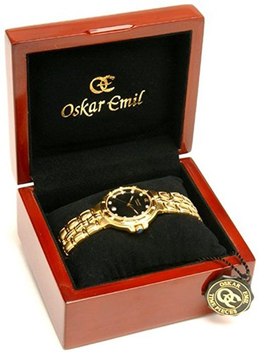 Oskar Emil Gents Casablanca 300M 23K Gold Diamond Watch with Black Dial