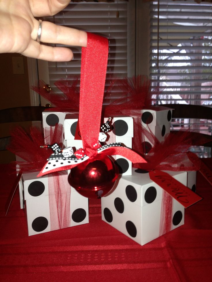For our Bunco Christmas Party we decided to exchange ornaments as well so I made a jingle bell with ribbon and dice beads to share. However my favorite part was the wrapping... I bought square boxes and glued black circles to make them look like die. I only wish I made one for myself!