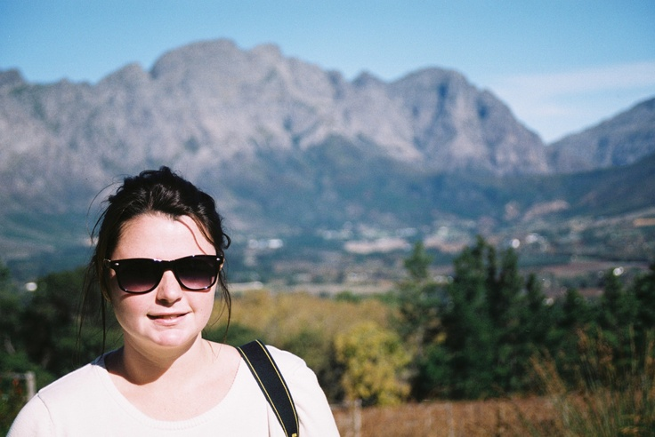 My beautiful friend @Natalie Wood with the Franschoek Valley in the background.