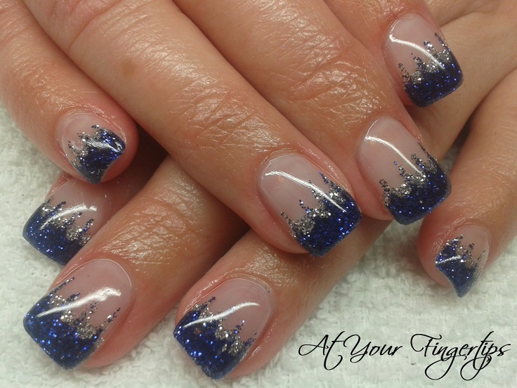 purple and silver glitter gel nails