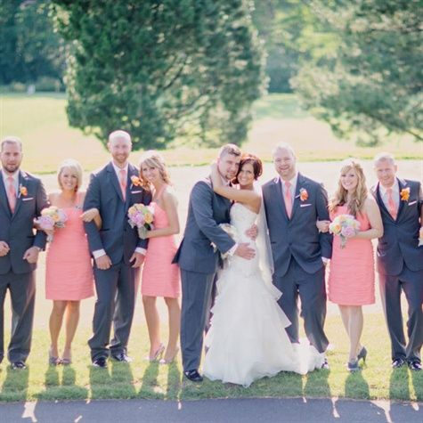 Girls in coral dresses, and guys in gray suits with coral ties. :)