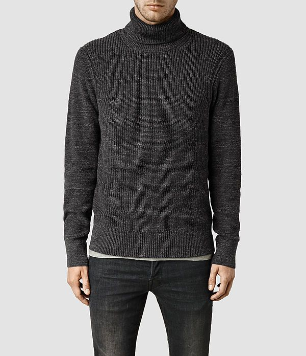 New Cheap Allsaints Charcoal Marl Panelled Knitted Jumper for Men Sale Sale Online