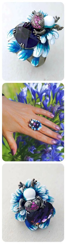 Frog Large Statement Ring | Oxidised Black Sterling Silver | White & Blue Enamel | Artificial Deep Purple Amethyst & CZ |