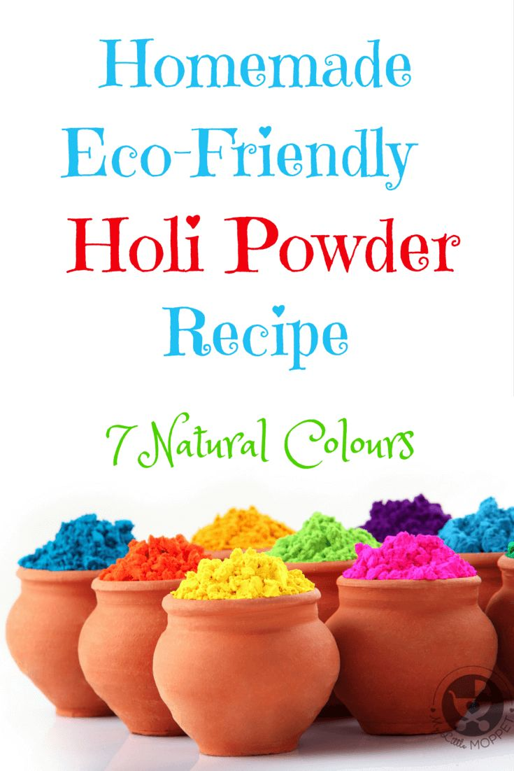 Holi, the festival of colours is an important Indian festival celebrated in the month of March, here is a DIY (Do It Yourself) Non Toxic Eco Friendly Homemade Holi Powder Recipe. It includes the recipes of 7 basic colours like red, orange, yellow, blue, purple, brown and green.