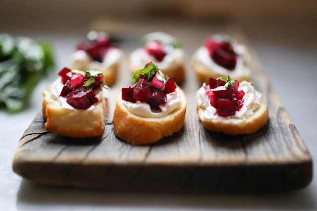 Beet Bruschetta with Goat Cheese. I roast my beets and add orange zest then a balsamic reduction.