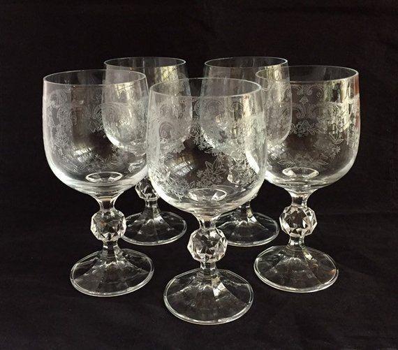 5 Vintage Bohemia Crystal Wine Glasses