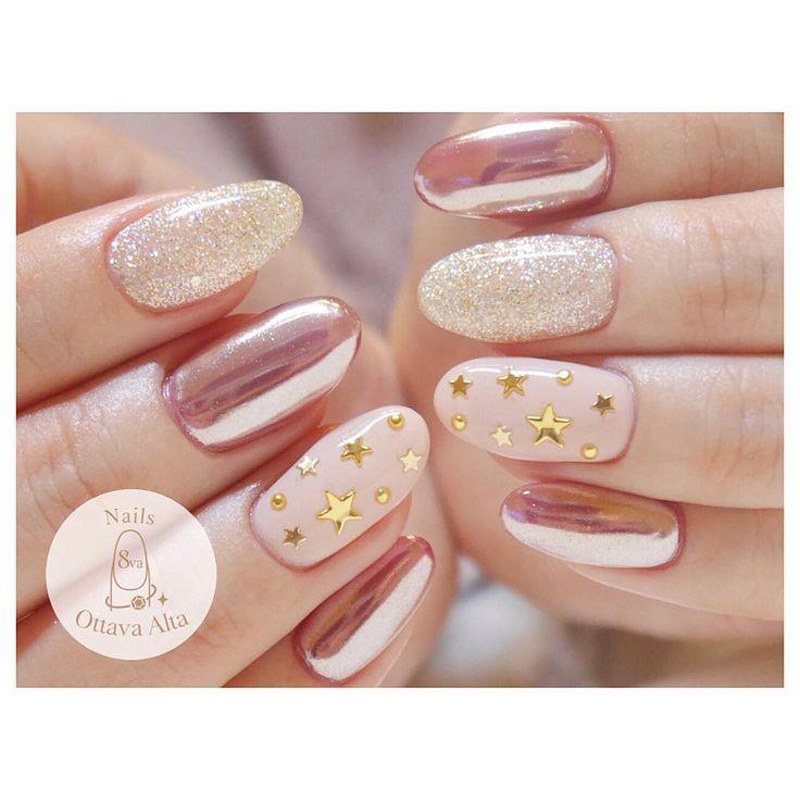 """282 Likes, 1 Comments - 麻布十番 オッターヴァ・アルタ (@nails_8va) on Instagram: """"ピンクのミラー #ignails #nail #nails #nailart #nailaddict #naildesign #nailswag #newnails #ネイル #ネイルアート…"""""""