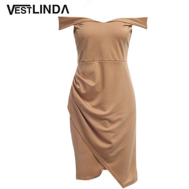 Off Shoulder Dress Khaki Asymmetric Ruched Sheath Mini Bodycon Women