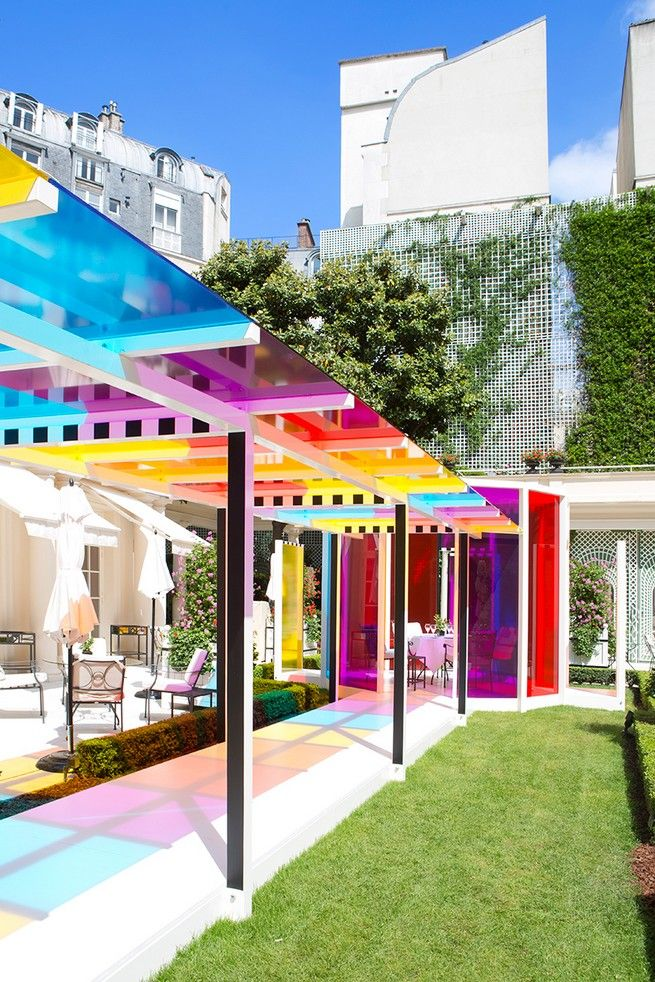 Daniel Buren Creates Chromatic Garden Landscape at Hotel Le Bristol | See more articles at http://www.delightfull.eu/en/news/