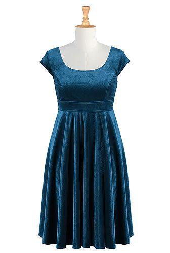 I <3 this Empire waist stretch velvet dress from eShakti