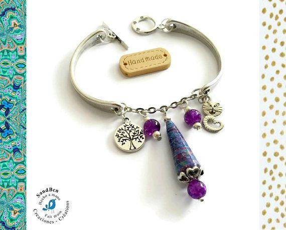 Bracelet Arbre de Vie Chat Bracelet Argenté Semi Rigide Perle