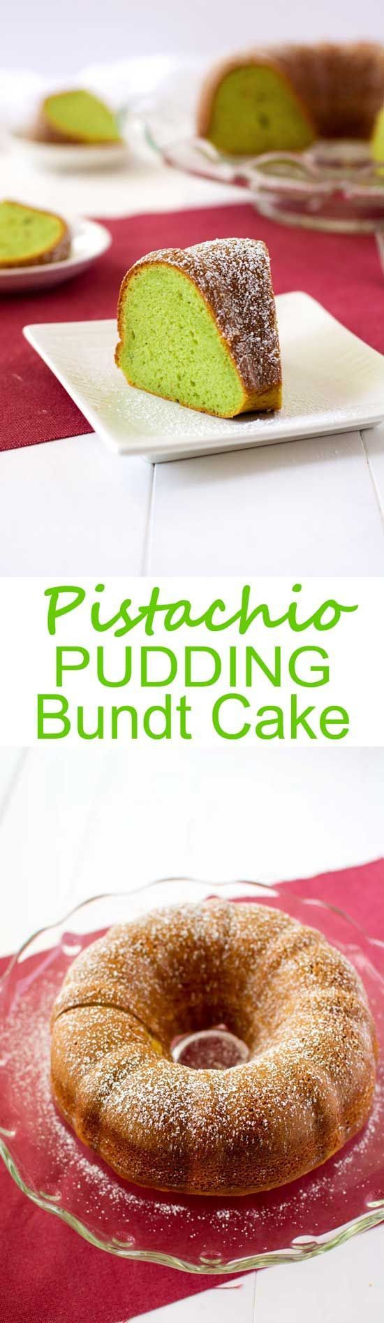 Easy Pistachio Bundt Cake using pistachio pudding and box cake mix!