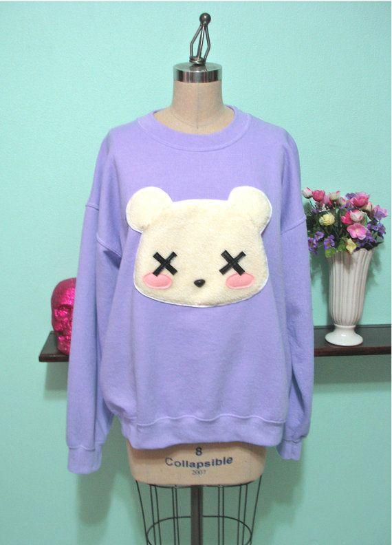 Pastel Goth Kawaii Grunge Deaddy Bear - Dead Teddy Bear Oversized Sweatshirt on Etsy, $45.00