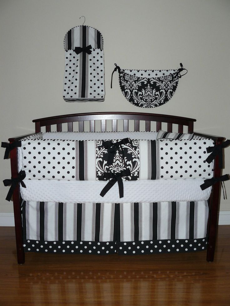 Luxury Custom Crib Baby Bedding pc Set Black and White Pearl Collection