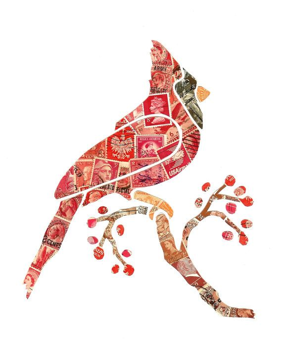 Cardinal with Red Berries Postage Stamp Collage by SailThouForth, $65.00