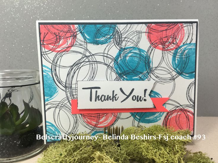 Thank you card using Fun Stampers Journey products, sketch circle