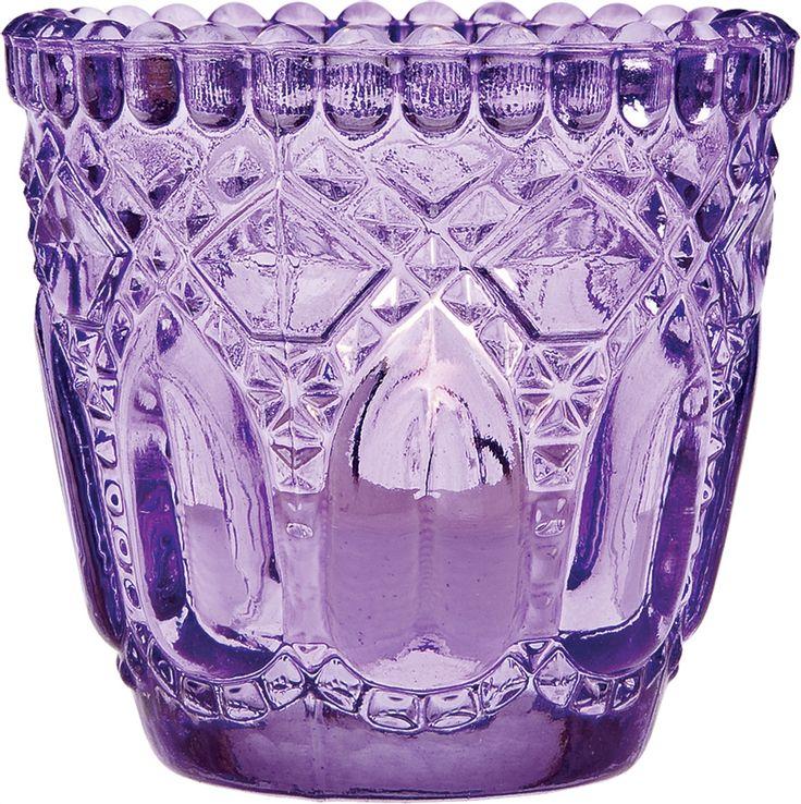 Candle Holder 2 75 Inch Faceted Design Purple Vintage