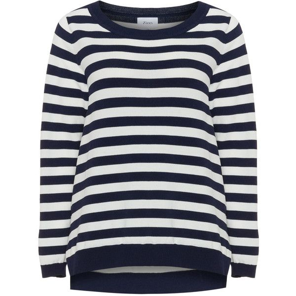 Zizzi Blue / Cream Plus Size Striped fine knit jumper ($59) ❤ liked on Polyvore featuring tops, sweaters, blue, plus size, plus size summer tops, plus size long sleeve tops, long sleeve sweater, nautical sweater and plus size sweaters
