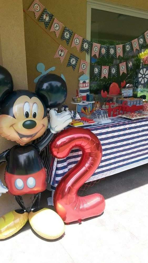 Get ready to fall in love with this Sailor Mickey birthday party! You will not want to miss the birthday cake! See more party ideas and share yours at CatchMyParty.com